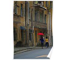 Red Umbrella - Yangshuo, China Poster