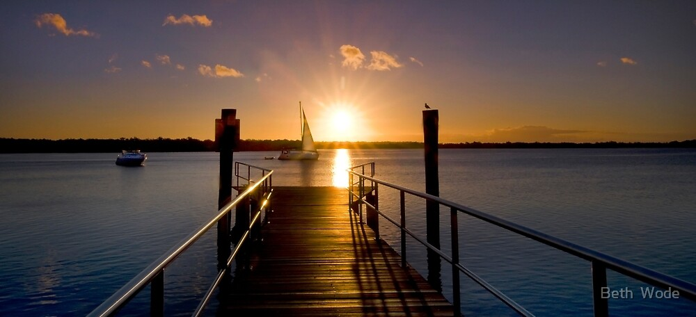 Sailing By - Tipplers Resort South Stradbroke Island Qld. by Beth  Wode