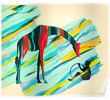 Africa Giraffe Boy Collage Poster