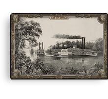 Three Steamboats on river. Age of Steam #001 Canvas Print