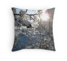 Icicles on a hedgerow in East Sussex Throw Pillow