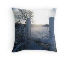 Snow on a stile, East Sussex Throw Pillow