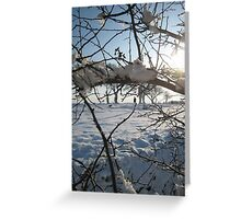 Walking the dog across snowy field, East Sussex Greeting Card