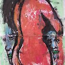 Red nude with faces - Bernard Lacoque by ArtLacoque
