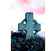 Celtic Cross on Pink Sky Photographic Print