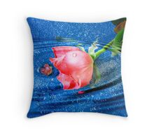 one rose within a teardrop Throw Pillow