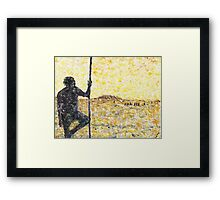 Aborigine with fighting stick Framed Print