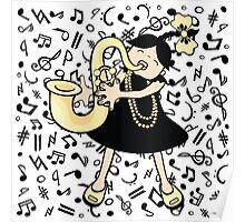 Saxophone Baby Poster