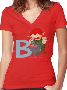 b for blacksmith Women's Fitted V-Neck T-Shirt