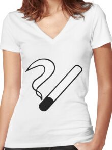 Smoking Symbol Women's Fitted V-Neck T-Shirt