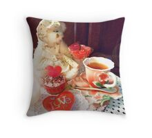 """Victorian Tea Setting On Valentine's Day"" Throw Pillow"