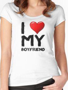 I love (heart) my boyfriend Women's Fitted Scoop T-Shirt