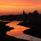 Fiery Sunset At Bosham Harbour by Jane Burridge