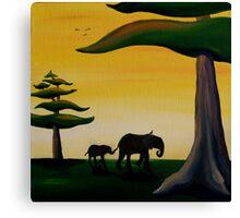 Elephant Silhouette Canvas Print