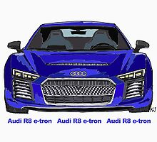 Audi 2015 R8 e-tron Pen and Ink Sketch by kjadesign