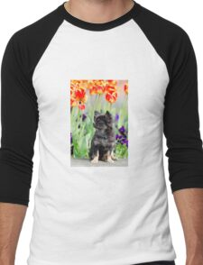 Dog and flowers Men's Baseball ¾ T-Shirt