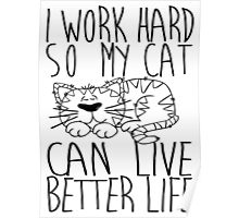 I work hard so my cat can live better life Poster