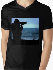 Photographer Silhouette Mens V-Neck T-Shirt