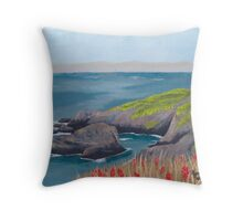 Lighthouse Waiting ~ Seascape ~ Oil Painting Throw Pillow