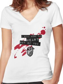Moriarty - Heart Women's Fitted V-Neck T-Shirt