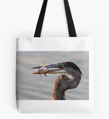 A fresh catch - Great Blue Heron Tote Bag