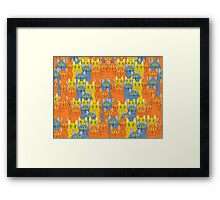 Comical Cat Crowd Framed Print