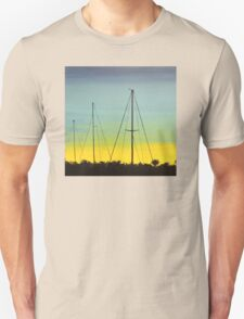 Spacious skies with docked sail boats Unisex T-Shirt