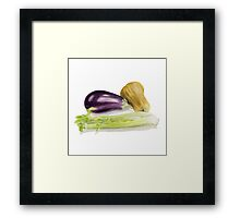 Aubergine, Squash and Celery Framed Print