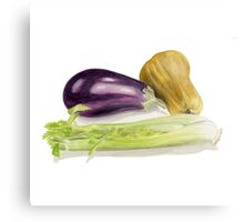 Aubergine, Squash and Celery Canvas Print