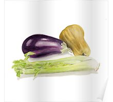 Aubergine, Squash and Celery Poster