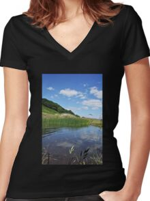 Reflected Blue Sky Women's Fitted V-Neck T-Shirt