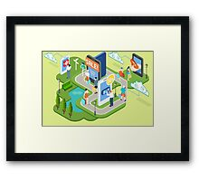 Isometric Virtual Shopping Concept Framed Print