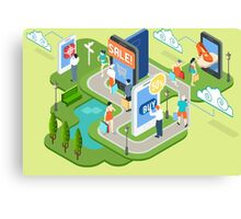 Isometric Virtual Shopping Concept Canvas Print