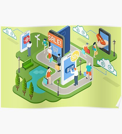 Isometric Virtual Shopping Concept Poster