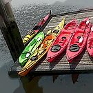 kayaks on a dock by andytechie