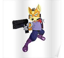Fox McCloud Starfox Melee Blue Design Poster