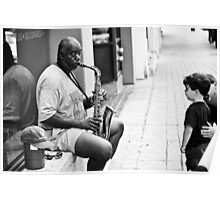 An Austin Street Musician Plays for Young Boy Poster