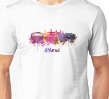 Athens OH skyline in watercolor Unisex T-Shirt