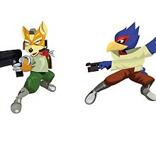 Fox and Falco StarFox Melee Design by niymi