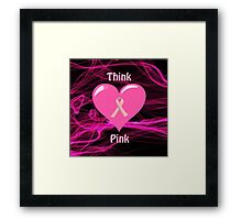 Breast Cancer Ribbon with Heart Framed Print