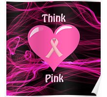 Breast Cancer Ribbon with Heart Poster