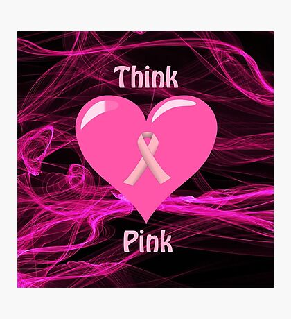 Breast Cancer Ribbon with Heart Photographic Print