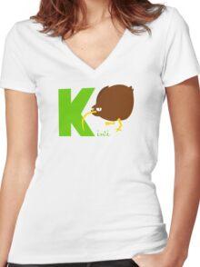 k for kiwi Women's Fitted V-Neck T-Shirt