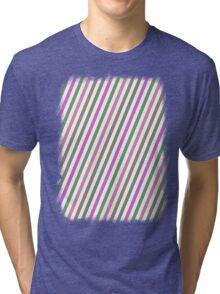 Pink Roses in Anzures 1 Stripes 1B Tri-blend T-Shirt