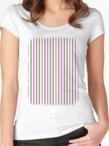 Pink Roses in Anzures 1 Stripes 1V Women's Fitted Scoop T-Shirt