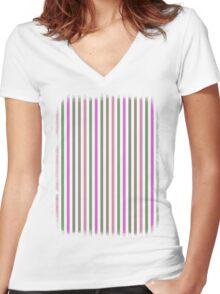 Pink Roses in Anzures 1 Stripes 1V Women's Fitted V-Neck T-Shirt