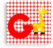 g for giraffe Canvas Print