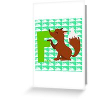 f for fox Greeting Card