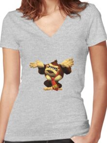 DK Melee Taunt Women's Fitted V-Neck T-Shirt