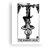 Black And White Hanged Man Tarot Card  Canvas Print